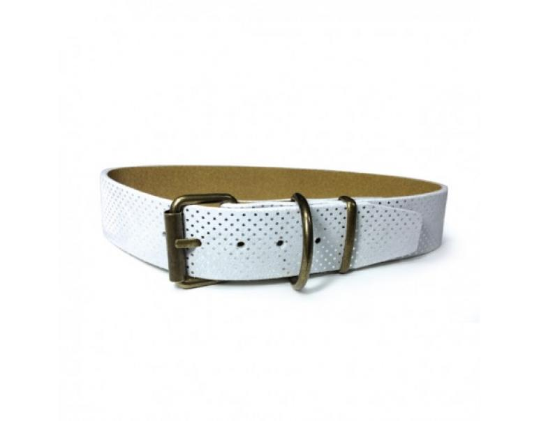 Art Leather Collar Perros Topitos Blanco 55 cm