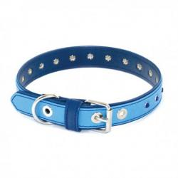 Art Leather Collar Piedras Azul 55cm