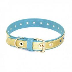 Art Leather Collar Piedras Turquesa Oro 35cm