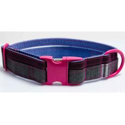 BichOh! Collar Perro Doble New Bond Morado/Rosa/Gris Talla XL 50-60 x 4 cm