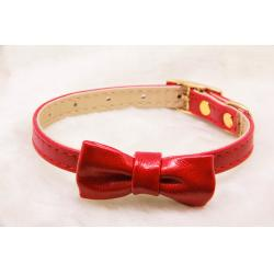 Collar Ajustable con Decoración Lazo Rojo 1x28cm