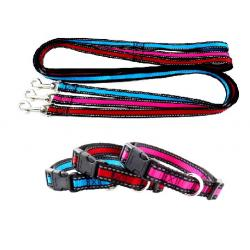 Pack Collar 40-55 cm y Correa Reflectante Rojo