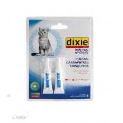 Dixie Pack 2 Pipetas Gatos Repelente Anti pulgas, Garrapatas y Mosquitos Spot On