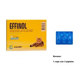 Effinol Caja 3 Pipetas Gato Anti pulgas y Garrapatas 0,50 ml