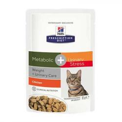 Hill's Prescription Diet Metabolic + Urinary Stress Gatos Tracto Urinario y Sobrepeso Bolsa 85g