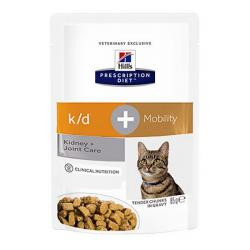 Hill's Prescription Diet k/d + Mobility Gatos Renal y Articulaciones Bolsa 85g