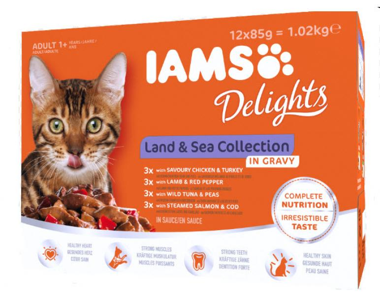 IAMS Delight Adult Cat Land & Sea Gravy Caja 12x85g