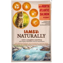 Iams Cat Naturally Adult Salmón Pouch 85g