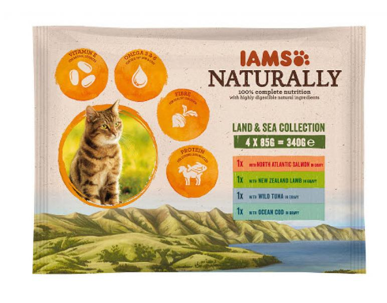 Iams Naturally Adult Cat Land & Sea Collection 4x85g
