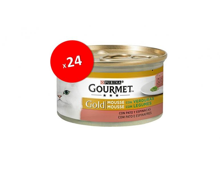 PACK AHORRO Gourmet Gold Mousse Pato y Espinacas 24x85g