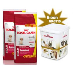PACK AHORRO: Royal Canin Medium Junior 2Unidades x 15+3kg Gratis con Bidón Regalo