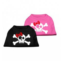 Petuky Black Skull Crossbone Screen Print Shirt Pink XS