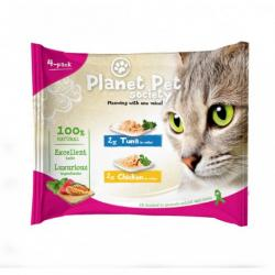 Planet Pet Gato Pouch Pack Atún y Pollo 4x50g
