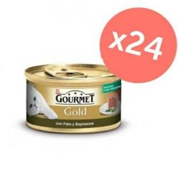 Purina Gourmet Gold Mousse Con Pato y Espinacas (Pack 24 Latas x 85 g)
