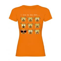 "Camiseta para Mujer ""I Love My Dog When…"" M"