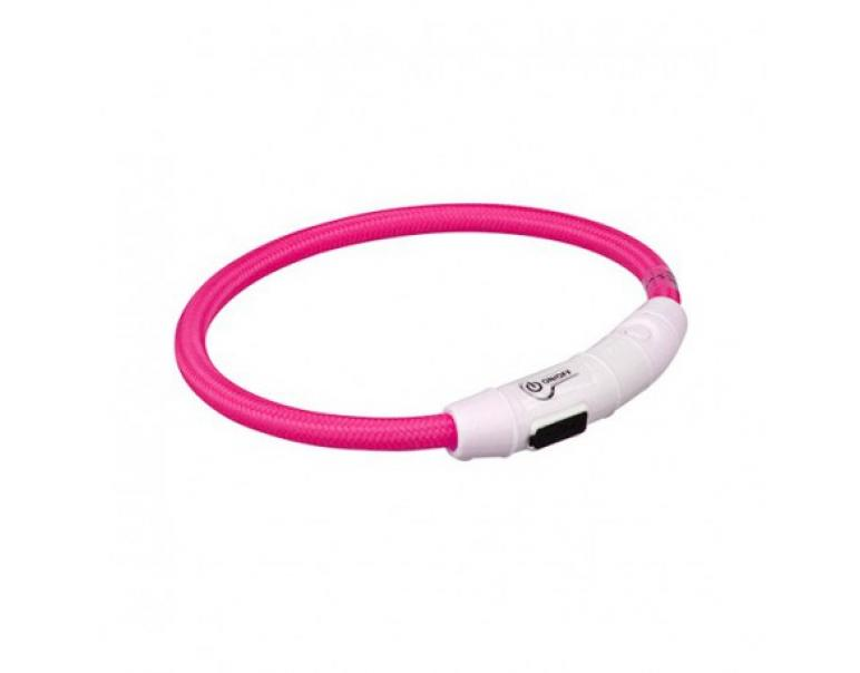 Trixie Aros Con Luz Flash USB Rosa L-XL 65 cm / 7 mm
