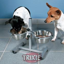 Trixie 2 Comederos de Acero Inoxidable Regulables En Altura - 2x1.8 L