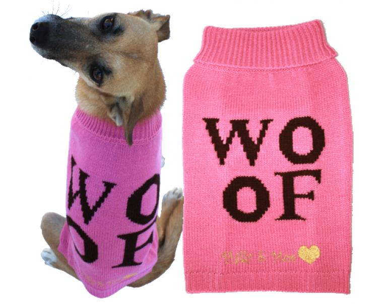 Woof Sweater Rosa Cuello Largo S